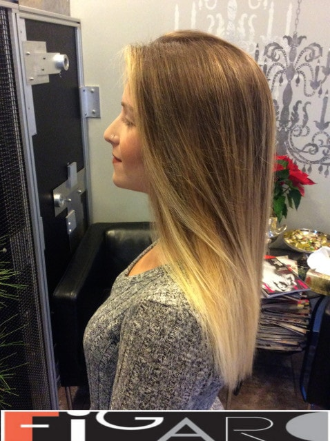 On this image the balayage hair coloring done by Elena Bogdanets famous hair colorist from Toronto