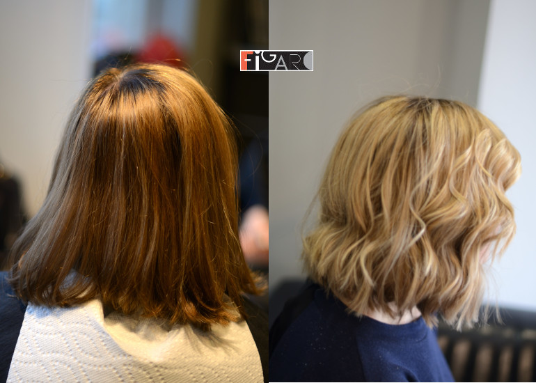 Before hair color correction and After Correction to Balayage Caramel. All work done by Award Winning color technician Elena Bogdanets