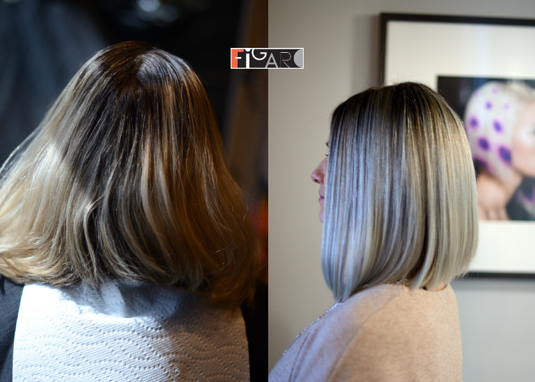 Before hair color correction and After Air Touch. All work done by Award Winning color technician Elena Bogdanets