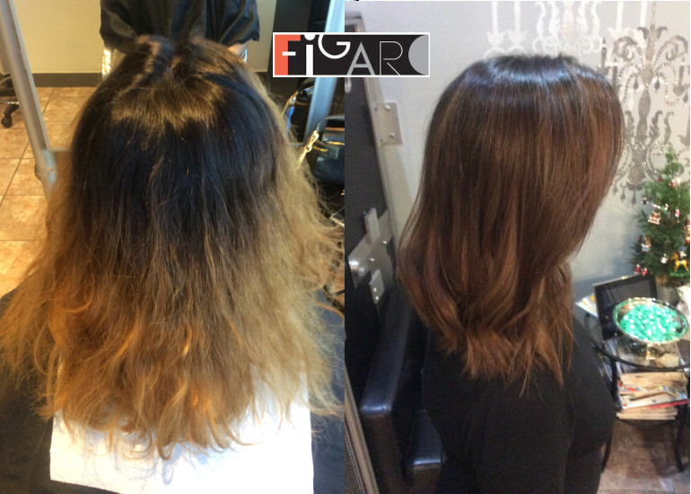 Before hair color correction and After. All work done by Award Winning color technician Elena Bogdanets