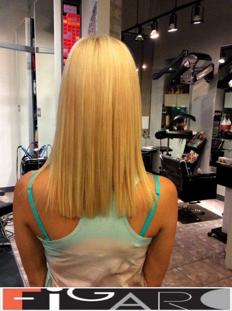blunt cut medium length hair done by Elena Bogdanets Toronto