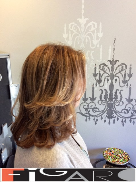 Layered medum length haircut by Elena Bogdanets Toronto