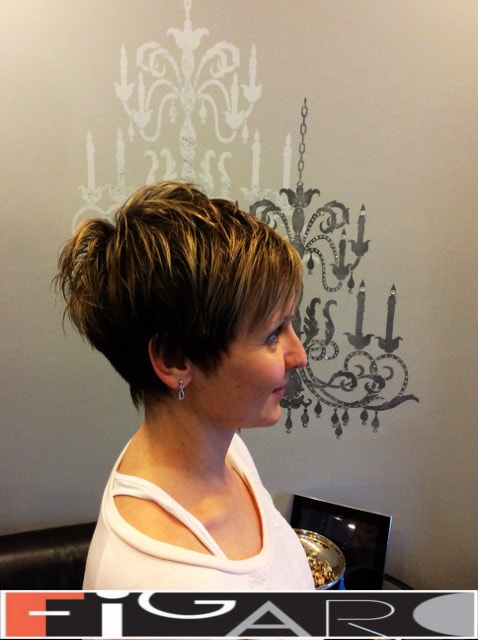 pixie cut with side bangs for short hairstyle by Elena Bogdanets Celebrity hair stylist